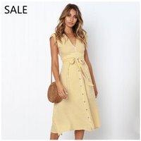 robes midi jaunes dames achat en gros de-Femmes Midi Robe D'été Robes Rayées Bleu Jaune Style Décontracté V Cou Avec Bouton Dames Robe Loisirs Conception Filles Quotidien Robe 2019