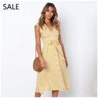 meninas vestido listrado amarelo venda por atacado-Mulheres Midi Vestido de Verão Vestidos Listrado Azul Amarelo Casual Estilo V Neck Com Botão Senhoras Vestido de Lazer Projeto Meninas Vestido Diário 2019