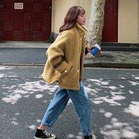 ingrosso lana di cotone agnello-Servizio fotografico Lambs Wool i vestiti di cotone 2019 New Style inverno cotone imbottito cappotto delle donne di stile coreano Loose-Fit studenti Spesso Emb