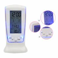 retroiluminação led lcd venda por atacado-Termômetro Digital Relógio LCD Calendário Alarme lâmpada LED Backlight desktop Clocks cabeceira com luz de fundo azul O126