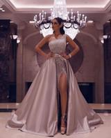 платья с высоким разрезом оптовых-Вечерние платья со съемной юбкой 2020 Rose Pink одно плечо Sexy High щелевая Формальное Пром платья Плюс Размер партии Гала Gowns