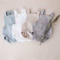 tulum kemeri kızları toptan satış-INS Yeni Tasarımcı Bebek Kız Bebek Erkek Romper Giysi Katı Sarı Mavi Düğme Yaz Keten Yenidoğan Kemer Tulum Yenidoğan Romper Onesies
