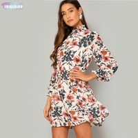 Wholesale turtle cuff for sale - Group buy Bohemian Multicolor Frilled Neck And Cuff Print Smock Flared Dress Women Spring Elegant A Line Chiffon Mini Dresses