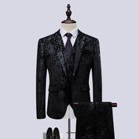 artı boyutu takılı kulübü elbiseleri toptan satış-2 adet Suit Erkekler Moda Güzel Sonbahar Kış Slim Fit Elbise Erkekler Gece Kulübü Şarkıcısı Sahne Kostüm Için Suits Homme Artı Boyutu Smokin