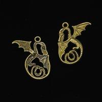 placa de dragón de bronce al por mayor-57pcs encantos dragón colgantes chapados en bronce antiguos accesorios de fabricación de joyas accesorios 37 * 30 mm