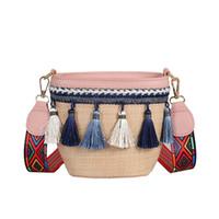 Wholesale unique brown handbags resale online - 2019 Female Unique Straw Rattan Handbag Tassel Woven Shoulder Bag Simple Beach Tote Bag for Women Ladies Use Supplies