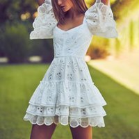 mini algodão quadrado venda por atacado-2019 novo vestido de verão mulheres branco de manga curta de algodão gola praça escavar bordado em cascata ruffle sexy mini vestido