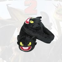 Wholesale soft shock shoes for sale - Plush Tame Dragon Master Slipper Toothless Black Dragon shoes Keep Warm Cotton Chinela Nightfury Soft Shock Absorption Home rbb1