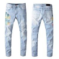 дизайнерские джинсы для мальчиков оптовых-Мужские джинсы дизайнер моды змея печати шаблон для мальчиков Джинсы винтажные Промытые штаны Мода Светлый цвет Высокий ST Hiphop Wear Размер 28-38