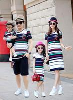 aile kıyafeti gömlek toptan satış-Aile Eşleştirme Kıyafetler 2019 Yaz serin moda ucuz güzel çizgili gömlek etek