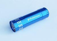 ingrosso torce elettriche da logo-Promozionali 9 Torcia LED con laser personalizzata nome inciso marca o loghi 4 colori disponibili