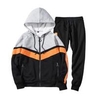 Wholesale clothes set velvet sports resale online - Mens Fashion Causual Sets Tracksuits Patchwork Sport Style Warm Velvet Streetwear Plus Size Aumn Winter Male Clothes Outwear
