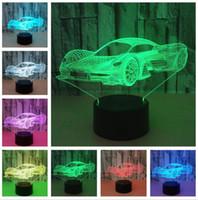 havalı erkek ışıkları toptan satış-Yenilik Serin Ferrari Araba Modern 3D LED Gece Lambası 7 Renk Değişimi Dokunmatik Roome Masa Lambası Ev Partisi Dekoru Erkek Boy Çocuk Doğum Günü Tatil hediye