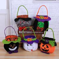 halloween eimer taschen großhandel-Halloween Kürbis Eimer Cartoon Vampir schwarze Katze Ghost Witch Handtaschen Halloween Candy Bag Party Geschenk Candy Taschen GGA2508