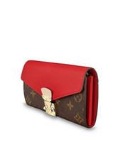 portefeuille de clip d'argent rouge achat en gros de-Nouveau luxe rouge Flap Buckle femmes longs portefeuilles de concepteur pinces à billets compacts embrayages titulaire de la carte classique Thin Purse Bank Card Checkbook