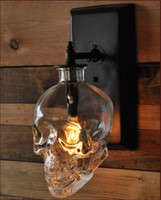 Wholesale skull knobs for sale - Group buy Skull wall lamps Retro Industrial style Creative Bar Wall Sconce Modern Wall Lamps Skull Glass Skull Bottle Light Fixture lamps