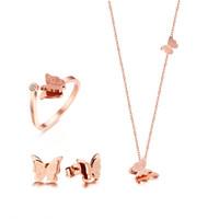 mariposa de oro jade al por mayor-Conjuntos de joyas Conjunto de joyas para mujer Collar de mariposa Anillo Pendientes Oro rosa Circón Encanto Mate Acabado Mujer Regalos