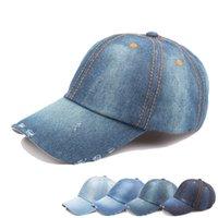 sombreros de jeans al por mayor-Vintage Washed Denim gorra de béisbol teñido de bajo perfil ajustable Unisex clásico llano deporte al aire libre verano papá sombrero Jean Snapback LJJA2302