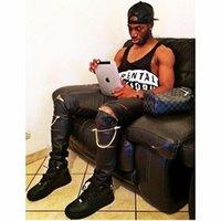 pantalon de jogging en faux cuir pour homme achat en gros de-Gros- Hip Hop haute Quantité PU Faux cuir Hommes Skinny Vêtements Justin Bieber Slim Fit Hiphop Zipper Swag Biker Jogger Kanye West Pants