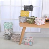 ingrosso scatole di stoccaggio pieghevoli-Cestino portaoggetti pieghevole in tessuto di alta qualità per desktop cestello portaoggetti ins