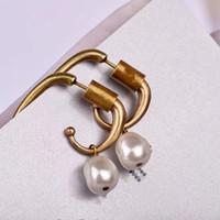 925 stifte großhandel-Dz Vintage Bronze Doppel Perle Biene Bolzenohrrings Frauen Hochzeit Unregelmäßige Perle 925 Silber Ohr Pin Brief Schmuck Y19050901