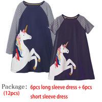 bebek giyim paketleri toptan satış-12 PAKET Bebek Kız Elbise Pamuk Unicorn Hayvanlar Aplike Uzun Kollu Elbise + Kısa Kollu Yaz Elbise Bebek Kız için giyim