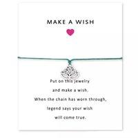 pulsera de moda infinito al por mayor-El lujo HACE UN DESEO pulseras del encanto del loto con la tarjeta de las mujeres diseñador de la marca Infinity Wristband Bangle For Men s regalo de la joyería de moda