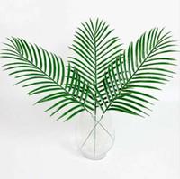 ingrosso lascia le piante-Carino Big Green Palm Leaves plastica finto pianta artificiale foglia Home Office Decoration fai da te appeso foglie artificiali