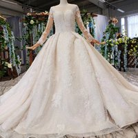 Wholesale cotton wedding dress train for sale - Group buy 2019 Summer New Wedding Dresses Long Tulle Sleeve Covered Cotton Shining Crystal Sequins Lace Applique Illusion V Neck Bridal Gowns Garden