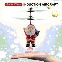 2ch rc helicopter remote control venda por atacado-Helicóptero indutivo Mini RC Drone Natal Dazzling Papai Noel Sensor de Indução Aircraft RC Presentes Toy Crianças
