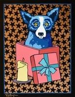 Wholesale black blue abstract art resale online - George Rodrigue Blue Dog Jingle My Bells At Night Black Home Decor Handpainted HD Print Oil Painting On Canvas Wall Art Pictures