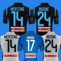 fútbol 14 al por mayor-2019 Napoli fútbol azul casero Jersey 18 19 Nápoles de Visitante camiseta de fútbol 2018 personalizadas # 14 # 17 MERTENS Uniforme HAMSIK # 24 INSIGNE tercera Fútbol