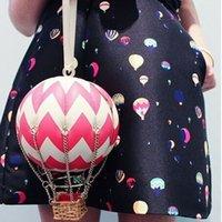 проверить стиль сумки оптовых-Стильный Бренд Fire Balloon Day Clutch Натуральная Кожа Женские Сумки Проверьте Стиль Браслеты Сумки Для Женщин Подиум Глобус Кошелек