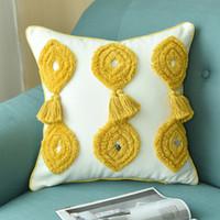 almofadas amarelas feitas à mão venda por atacado-Borlas Capa de Almofada Mostarda Amarelo Azul Cinza Fronha Handmade Lã De Pelúcia Para O Sofá Sofá Casa Decorativa Boho Estilo 45 * 45 cm