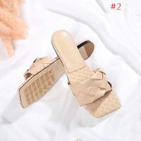 Wholesale knitting shoes slippers resale online - high quality new leather knitting slippers Latest Real leather slippers women shoes Square sole mules open toed Woven sli