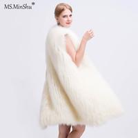 mão de tricô venda por atacado-MS.MinShu Mulheres Longo Estilo Genuine Fox Fur Vest Mão De Malha Casaco de Raposa Levemente Real Colete De Pele Gilet Fox jaqueta