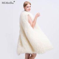 ingrosso lavorazione a maglia della pelliccia-MS.MinShu Women Long Style Genuine Fox Fur Vest lavorato a mano Fox Coat Gilet in pelliccia leggera Gilet giacca Fox