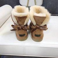 botas de invierno de cuero marrón para niñas al por mayor-Snow Winter Leather Women Australia Clásico medio rodillas Botas Botines Negro gris Rosa marrón mujer niña botas de nieve