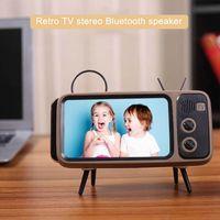 Wholesale phone holder usb charging online – Newly Cute Mini HIFI Bluetooth Stereo Speaker Wireless Super Bass Speakers USB Charge Phone Holder Retro TV Loudspeaker