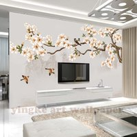 pintar fondo de la foto al por mayor-Custom Photo Wallpaper Moderno mangnolia Wall Painting bird Living Room Bedroom Backdrop Wall Decor Mural Wallpaper Para Paredes 3 D