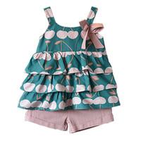 kız şortu tank topu toptan satış-2 Adet 2 Adet Casual yazlık kıyafetler 19041902 Takımları Bebek Kız Giyim Moda Tank Top ve Shorts ayarlar