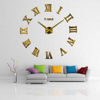 ingrosso orologio da parete dello specchio di modo-47inch Promozione nuova decorazione domestica grande romana dello specchio di modo moderno quarzo Orologi Soggiorno fai da te Orologio da parete Sticker Orologio