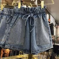 chicas coreanas de verano pantalones cortos al por mayor-Summer New Korean Short Jean Girls Lady Heavy Industry Hot Drill Shorts Cowboy con cordones Pantalones cortos de mezclilla de cintura alta Pantalones calientes para mujer