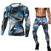 spandex camiseta de los hombres al por mayor-NUEVO Traje de ropa deportiva de camuflaje para hombre Camisa térmica de manga larga T-shirt + Pants 2 Piece Chándal Hombres Compresión Running Suit # 704556