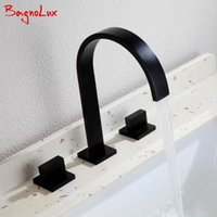 Wholesale water lever resale online - 2017 New Arrival Double Lever Handle Square Bathroom Walls MaBlack Faucet Mixer Three Hole Basin Hot And Cold Water Wash Tap