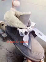 Wholesale tall girl winter shoes for sale - Group buy 2019 Women S Classic Tall Boots Women Girl Boots Boot Snow Winter Black Blue Bow Tie Boots Leather Shoes