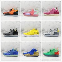 Wholesale kd sneakers for men resale online - New Basketball Star KD Basketball Shoes s Mens Yellow Pink Blue Green Grey Sports Sneakers Outdoors Trainers For Exercise With Box