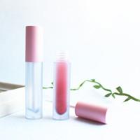 ingrosso imballaggio in plastica liquida-Tubi in plastica tinta rosa lucida smerigliata con lucidalabbra rotonda Trucco vuoto Custodia per rossetto liquido grande lucidalabbra Confezione di bellezza 20 pezzi