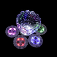 ingrosso illuminazione delle bottiglie di vetro-4 LED decorazione bottiglia di luce adesivi Glorifier Mini LED Coaster Cup Mat per Party Bar Club Vaso nozze bicchiere di vino