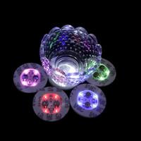 свадебное мини-вино оптовых-4 LED Украшения Свет Бутылки Наклейки Glorifier Mini LED Coaster Кубок Коврик для Партии Бар Клуб Ваза свадьба Бокал